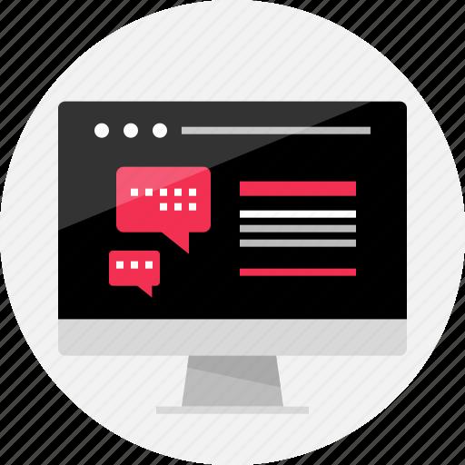 chat, conversation, facebook, mockup, online, talk, wireframe icon