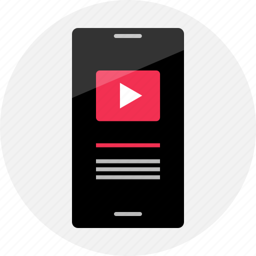 cell, media, mobile, music, phone, player, youtube icon