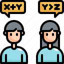 chatting, communication, education, knowledge, learning, talking, transfer icon