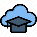 cloud mortarboard, database, e-learning, education, learning, online, study