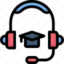 e-learning, education, headphone mortarboard, learning, online, study, support