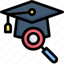e-learning, education, learning, magnify mortarboard, online, search, study
