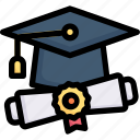 e-learning, education, graduation, learning, mortarboard and diploma roll certificate, online, study