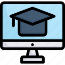e-learning, education, learning, mortarboard on monitor, online, student, study