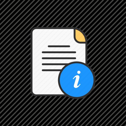 details, info, information, information sheet icon