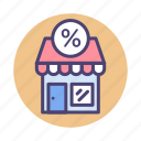 discount, market, promotion, store icon