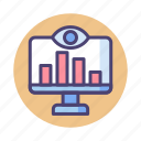 monitoring, chart, research, trend, diagram, seo icon