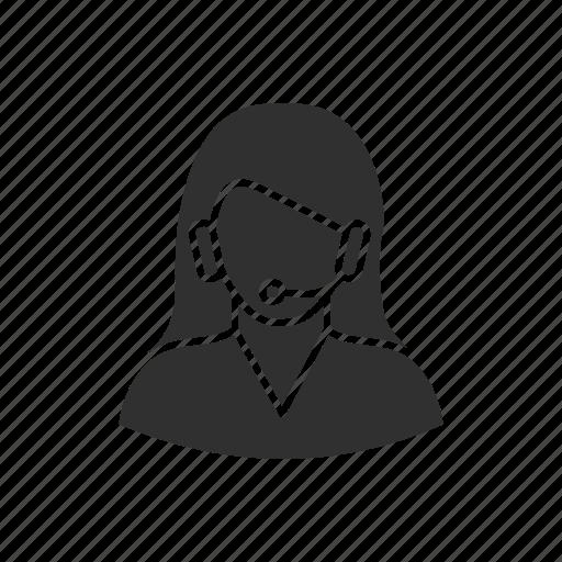 call center, customer service, customer support, female customer support icon