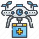 assistance, delivery, drone, fly, healthcare, medical, transportation icon