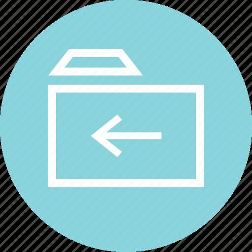 archive, arrow, back, folder, left, menu icon