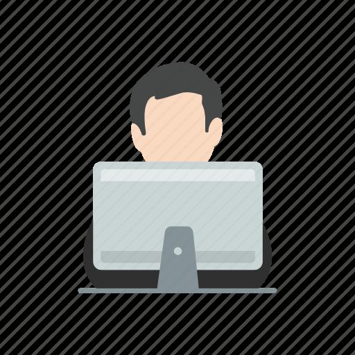 desktop, man working, messaging, online icon