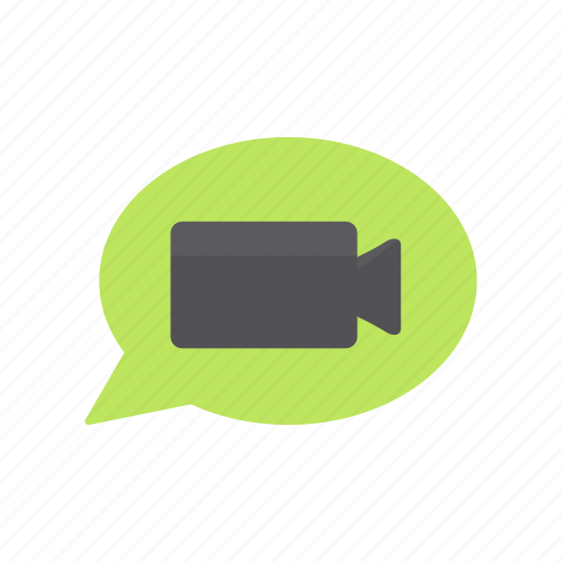 chat, chat bubble, message, video icon
