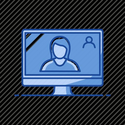 conversation, desktop, video call, video chat icon