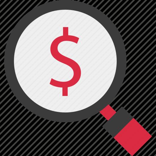 dollar, find, look, online icon