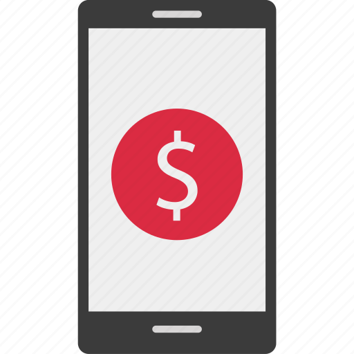 dollar, mobile, online, sing icon