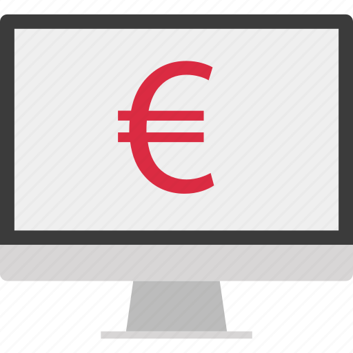 euro, monitor, online, screen, sign icon