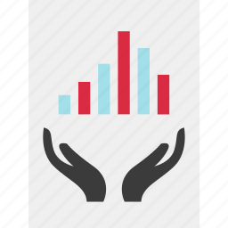 chart, growing, hands, online, results icon