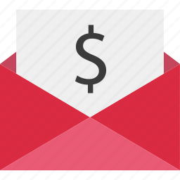 dollar, mail, online, sign icon