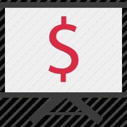 board, dollar, money, online icon