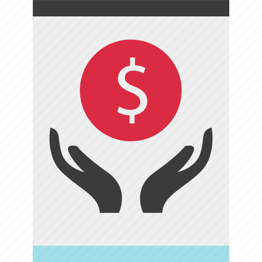 holding, money, online, sign icon