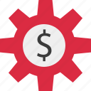 dollar, gear, online, work icon