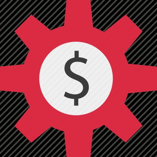 dollar, gear, online, work icon