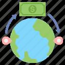 money, overseas, send, transfer icon