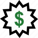 burst, dollar, sale, sign icon