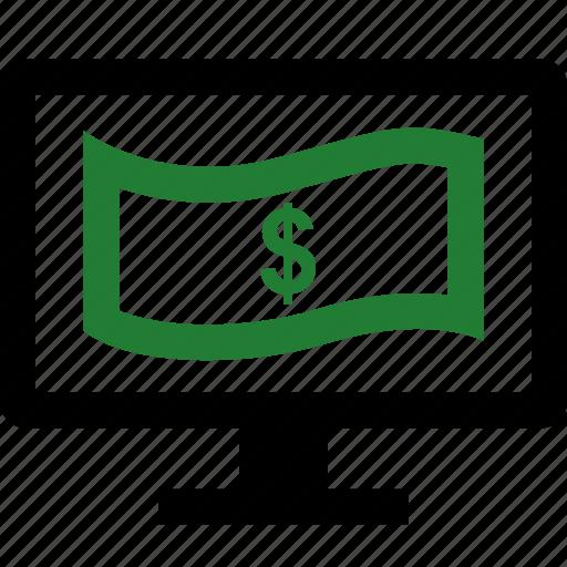 computer, dollar, monitor, sign icon