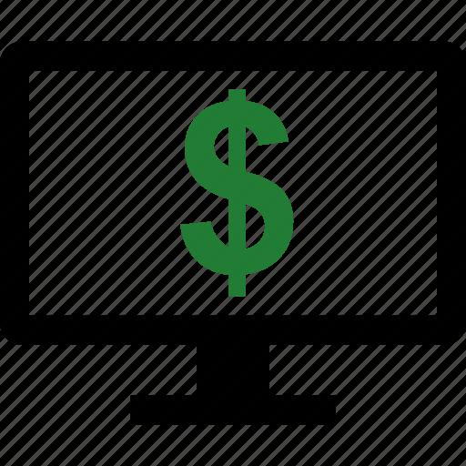 computer, dollar, screen, sign icon