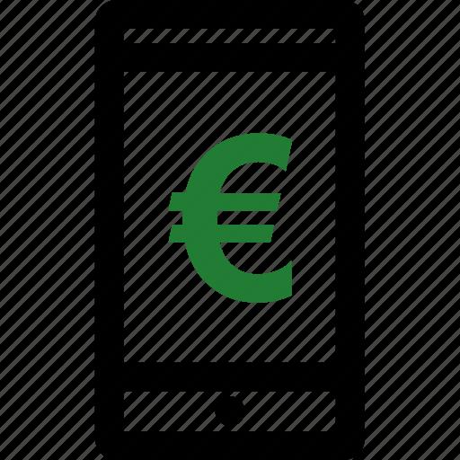 call, euro, mobile, sign icon