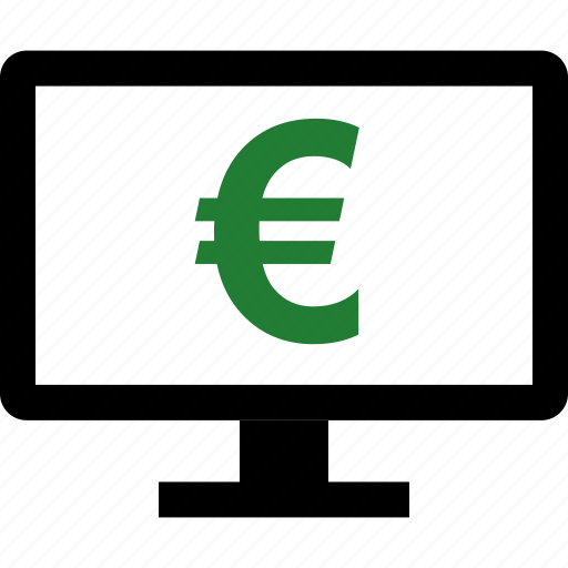 computer, euro, money, screen, sign icon