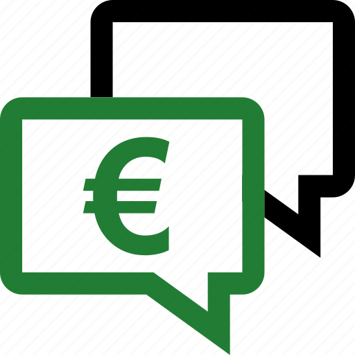 chat, euro, sign, talk icon