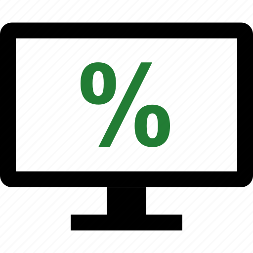 interest, monitor, percent, rate icon