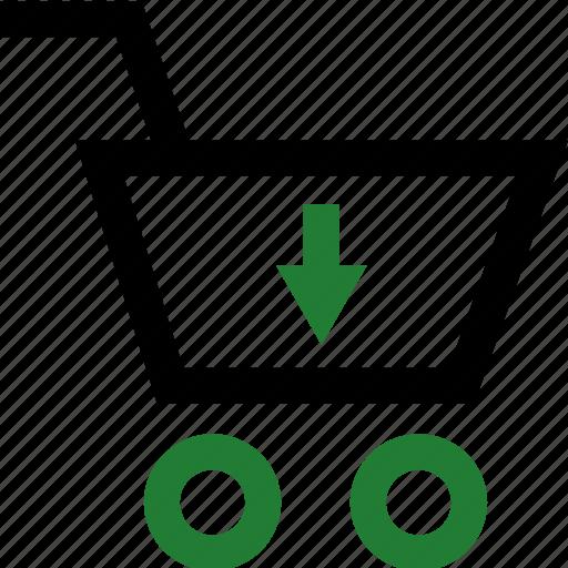 arrow, cart, down, shopping icon