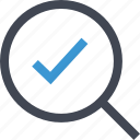approved, check, find, good, magnifier, mark, ok icon