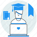 certificate, education, knowledge, learning, online, services, study icon