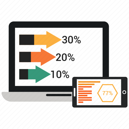 infographic bar, laptop, mobile, online, share market, share purches, share sale icon