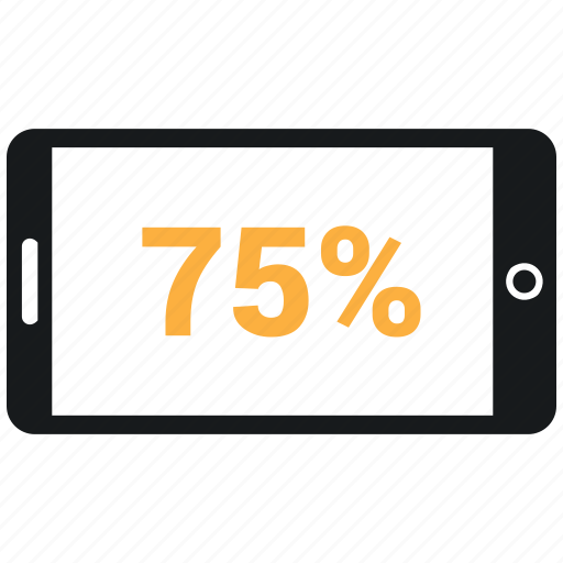 online, percent, seventy five, share market, share purches, share sale icon