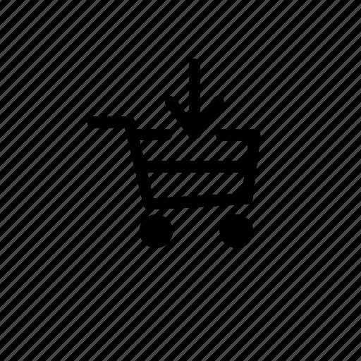 add, arrow, basket, buy, cart, down, shop icon