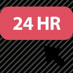 arrow, click, four, hours, online, twenty icon