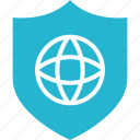 earth, globe, internet, online, shield, shop, shopping icon