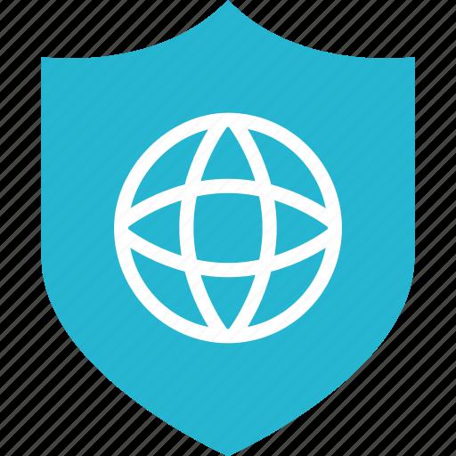 earth, globe, internet, online, shield, shop, shopping icon
