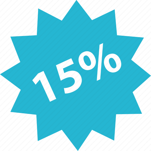 fifteen, off, online, percent, shop, shopping icon