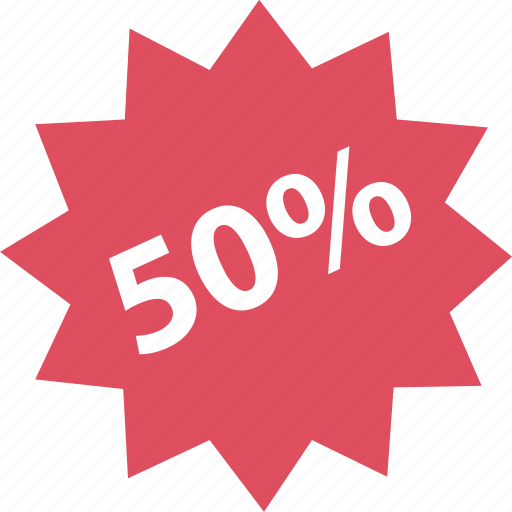fifty, off, online, percent, shop, shopping icon