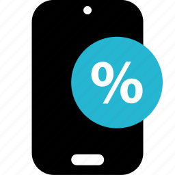 mobile, online, percent, shop, shopping icon