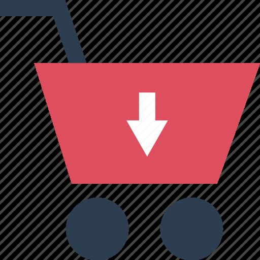 add, arrow, cart, down icon
