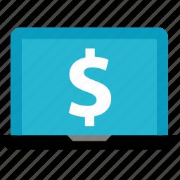 dollar, laptop, online, shop, shopping, sign icon