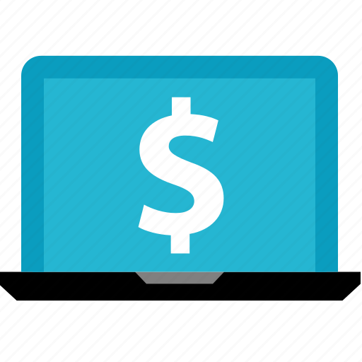 dollar, laptop, online, shop, shopping, sign icon