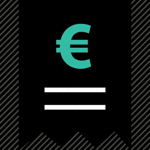 euro, online, receipt icon